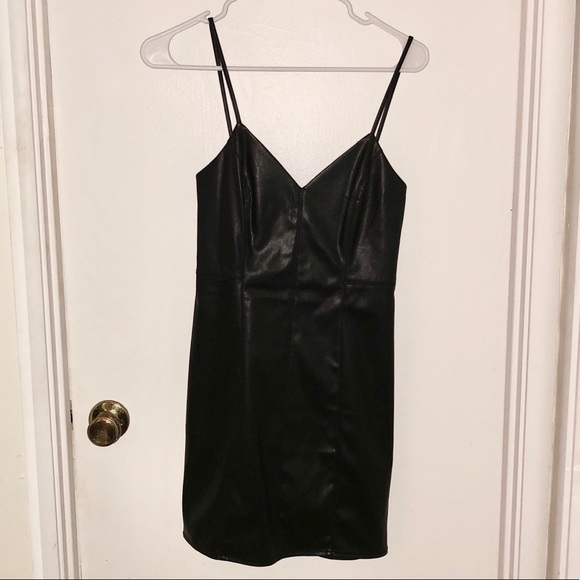 Express Dresses & Skirts - Pleather Black Mini Dress
